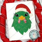 Raggedy Santa Hat Chicken Head Applique Design ~ Christmas Hen